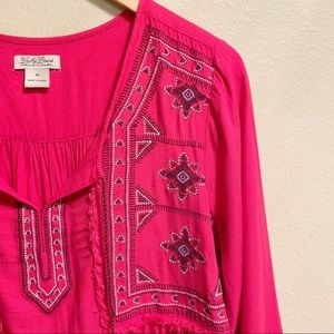Lucky Brand Tops - Lucky Brand • Bright Pink Peasant Blouse